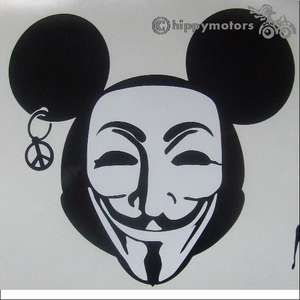 mickey mouse wearing a v for vendetta guy fawkes mask