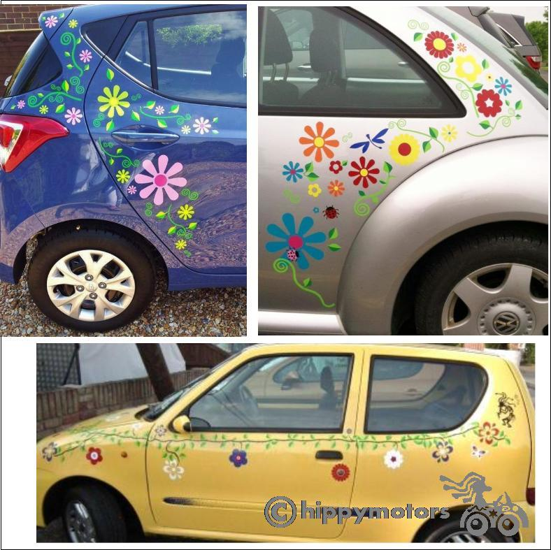 leaf and flower decals on cars