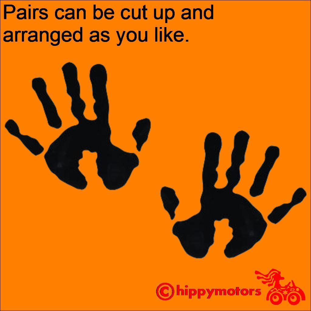 Hand print decals for cars and walls