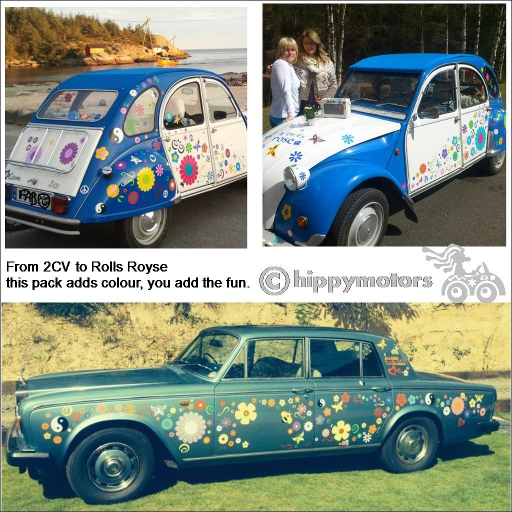 Flowers and butterflies on Rolls Royce and 2CV