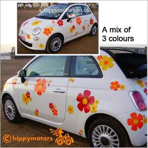 Car covered in large hippy flower decals