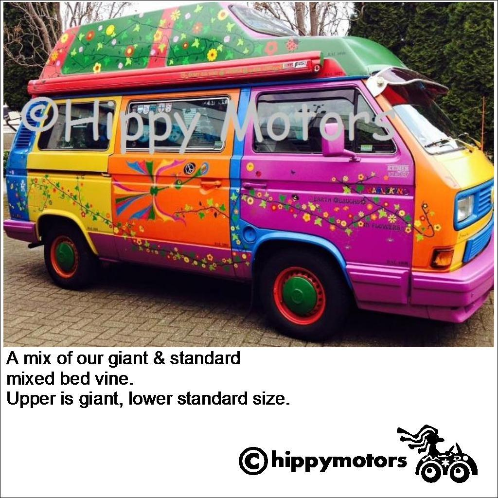 camper van covered in vine flower decals