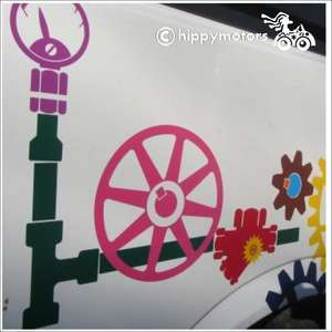 Steam Punk cogs and gears Decals on van