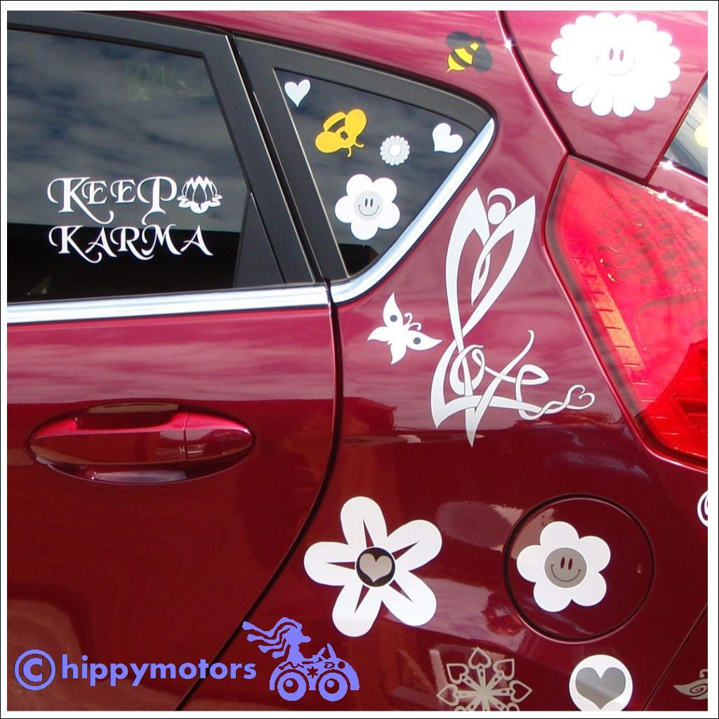 flower with smile decals on car