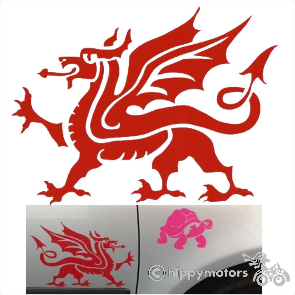 welsh dragon car sticker vinyl decal hippy motors