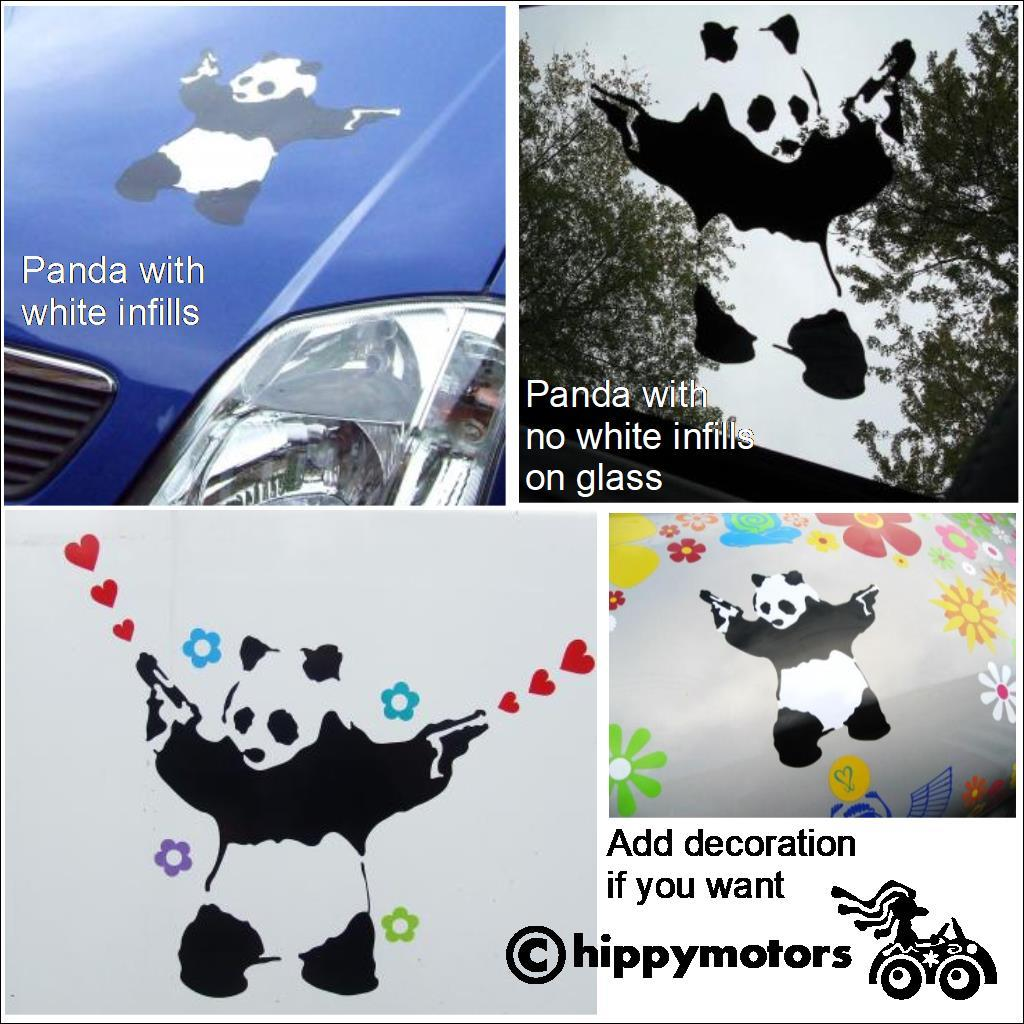 banksy panda with guns decals on cars
