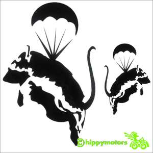 banksy parachuting rat decal