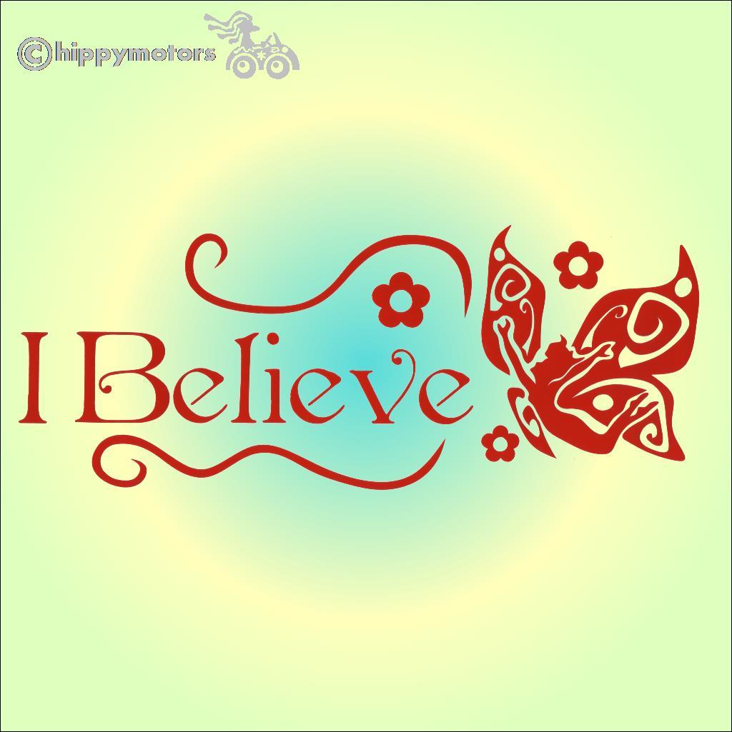 i believe in fairies bumper car sticker decal
