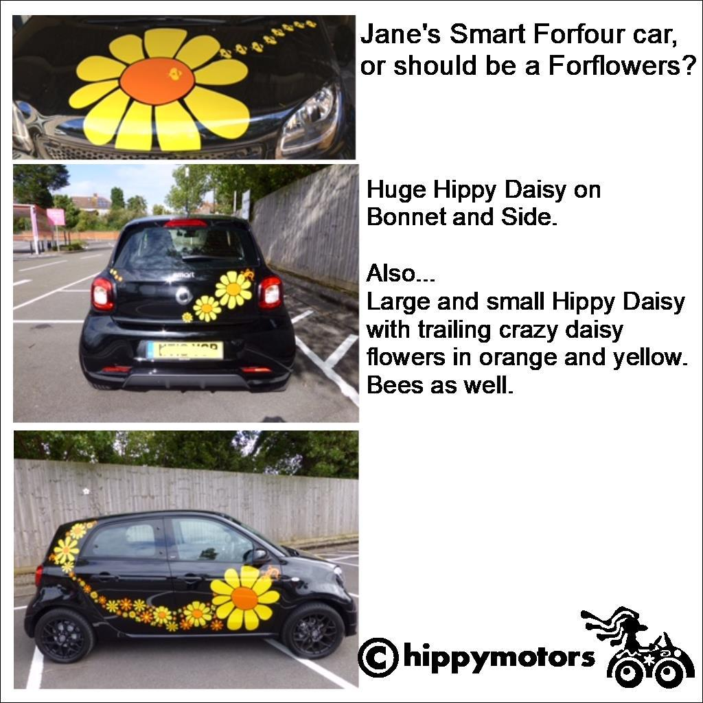 large vinyl daisy flower transfers on car