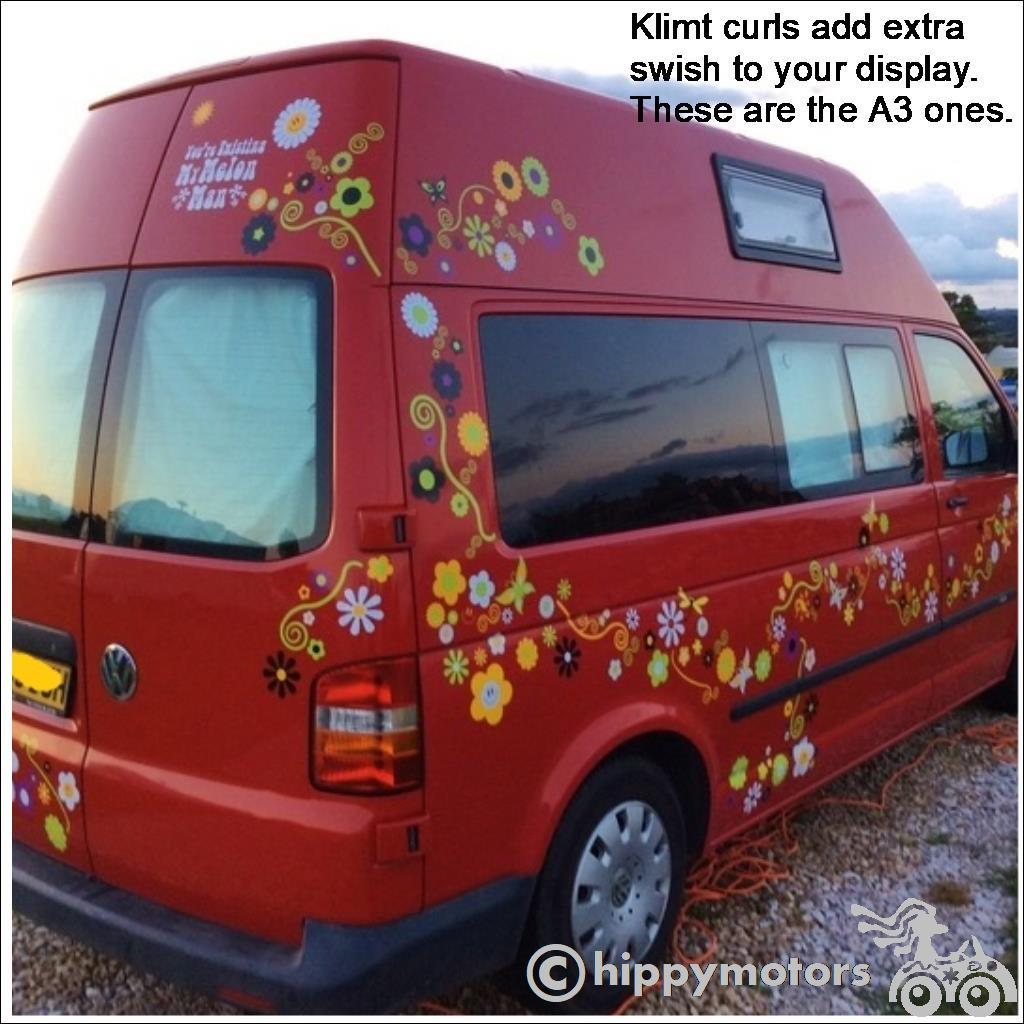 klimt curl flower decals on camper van motor home