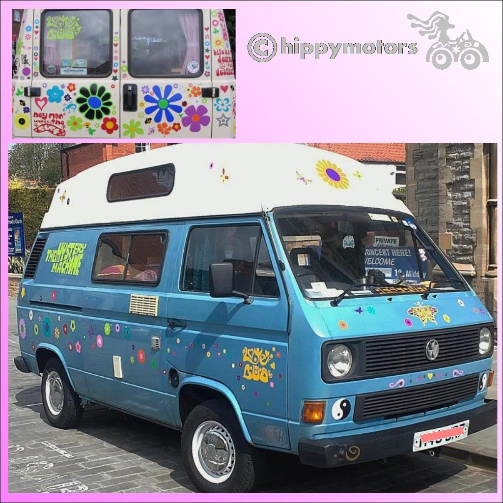 love bus hippy vinyl camper van stickers decals