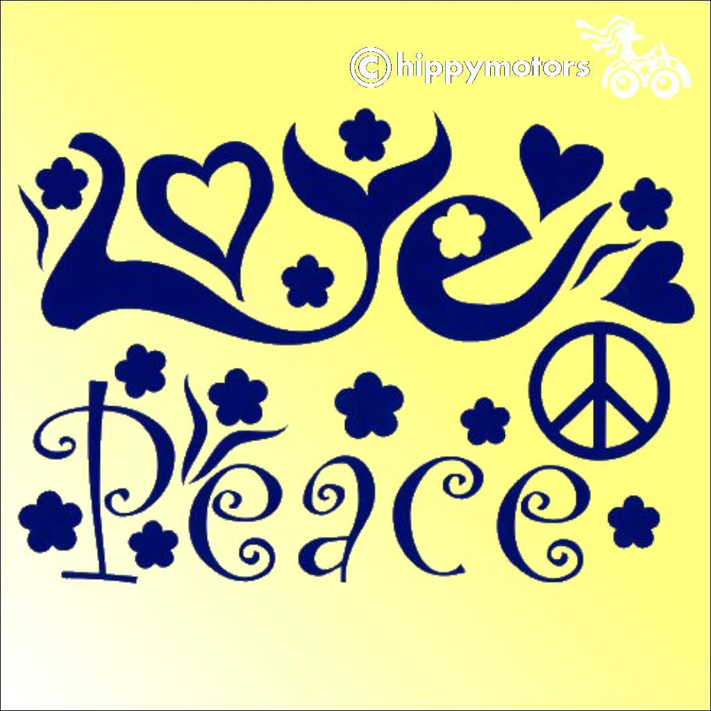 Retro love and peace decal