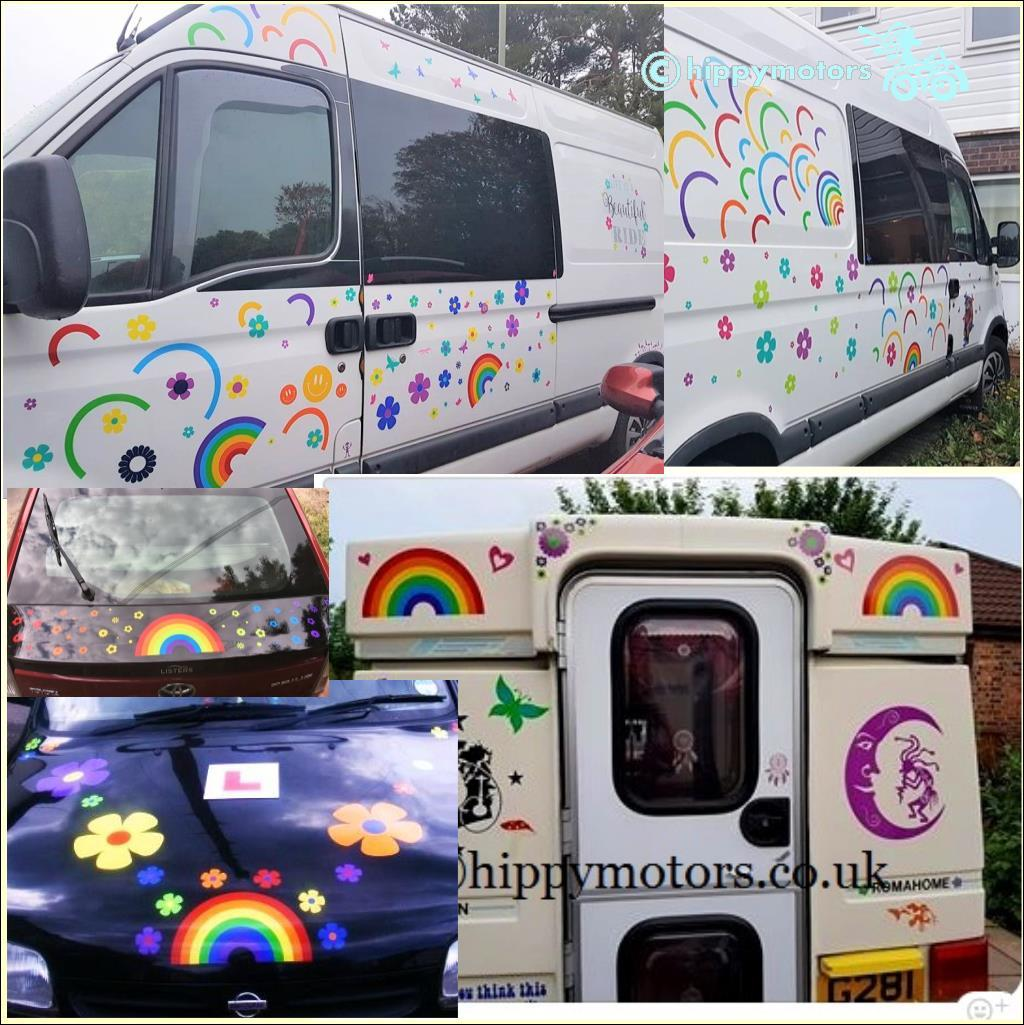 rainbow vinyl graphics flower car stickers hippy motors