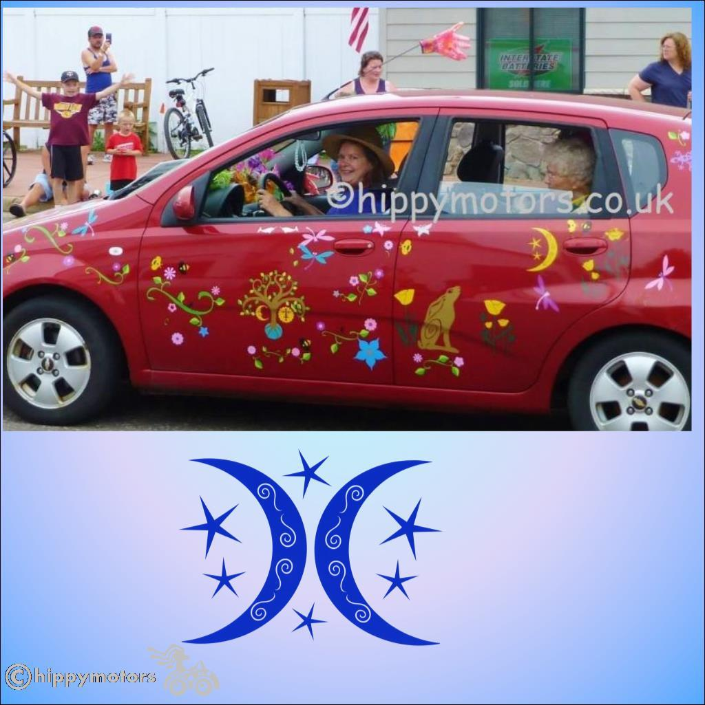 moon gazing hare and tree of life car vinyl decals