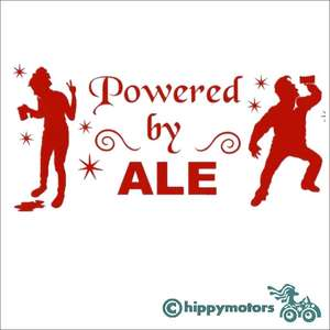 powered by ale decal showing drinking and drunk people