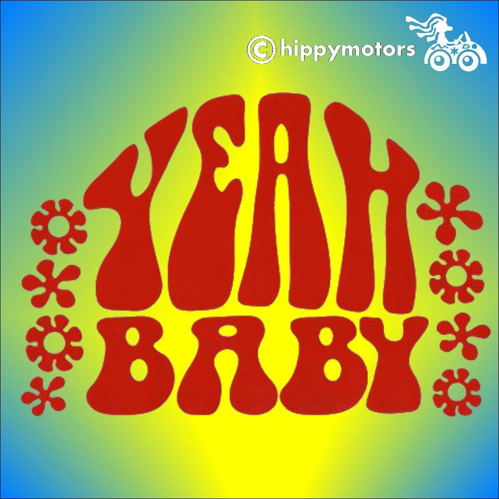 Austin Powers decal saying yeah baby