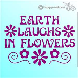 vinyl car Decal with Emmreson saying earth laughs in flowers