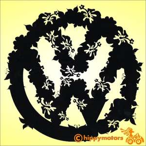 vw logo changing to flowers and butterflies vinyl  decal