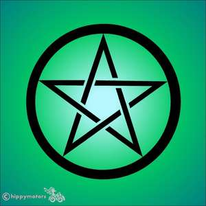pentagram pentagle star sicker for cars, camper vans, caravans and windows
