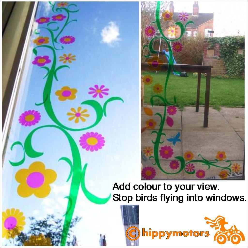 colourful vine decal on glass window and patio doors