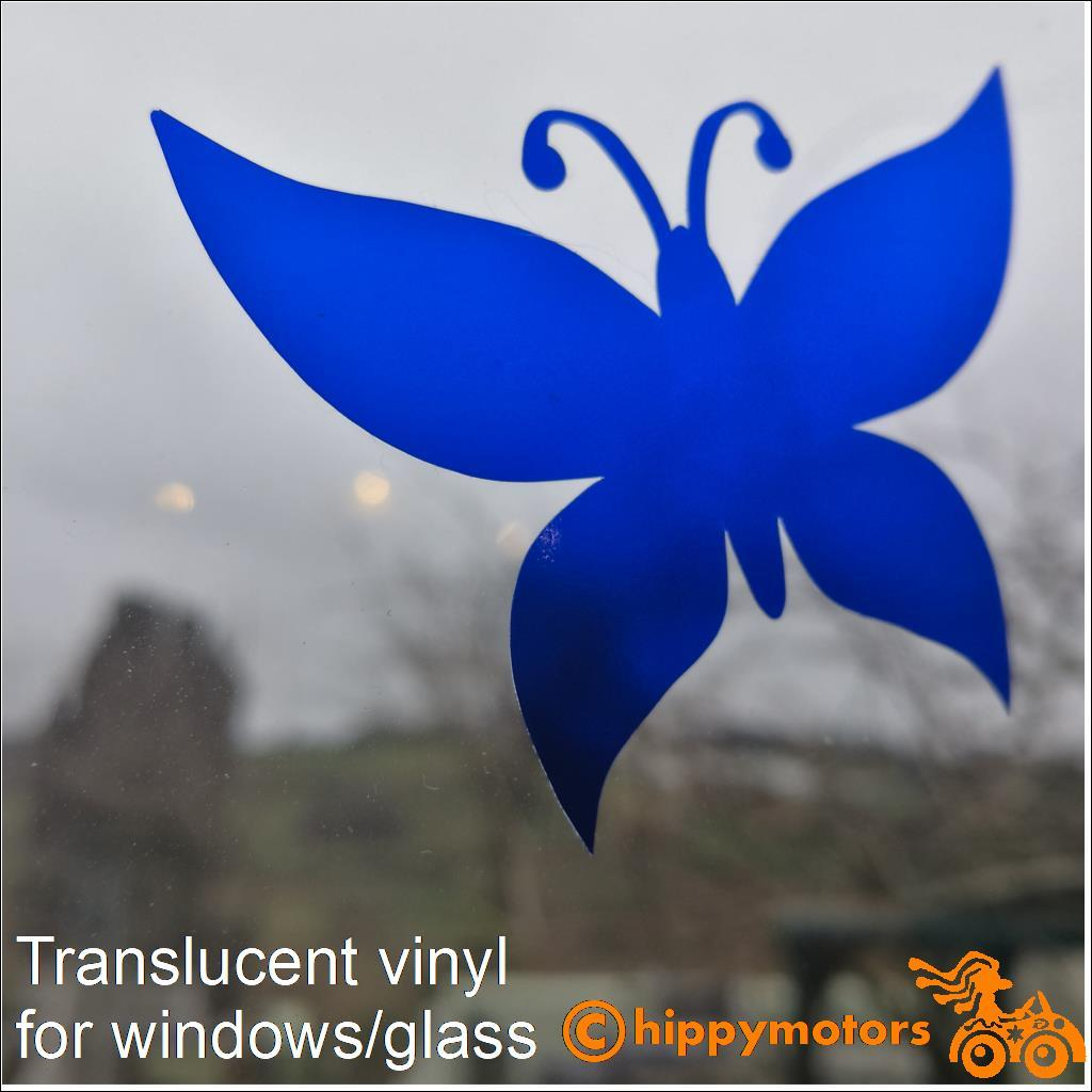 translucent vinyl butterfly on glass window