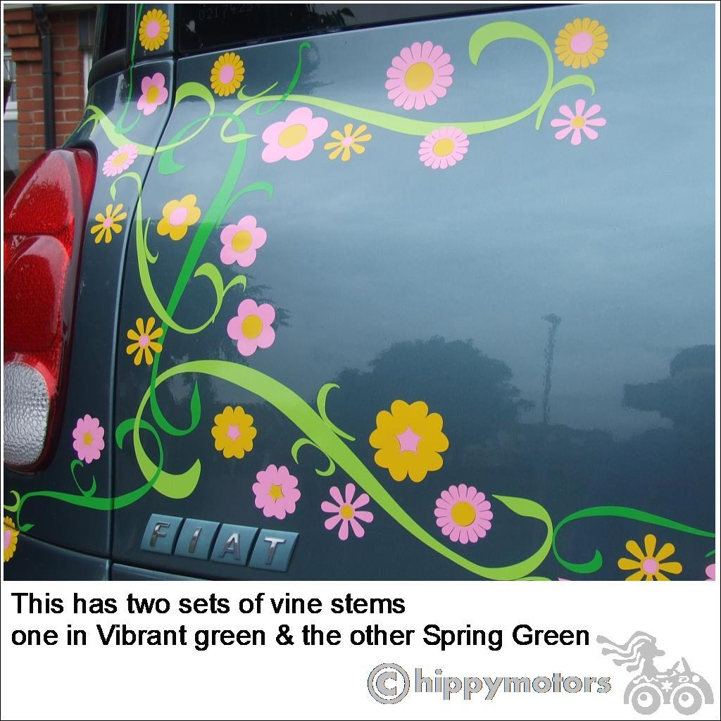 vine and flower decals on a car