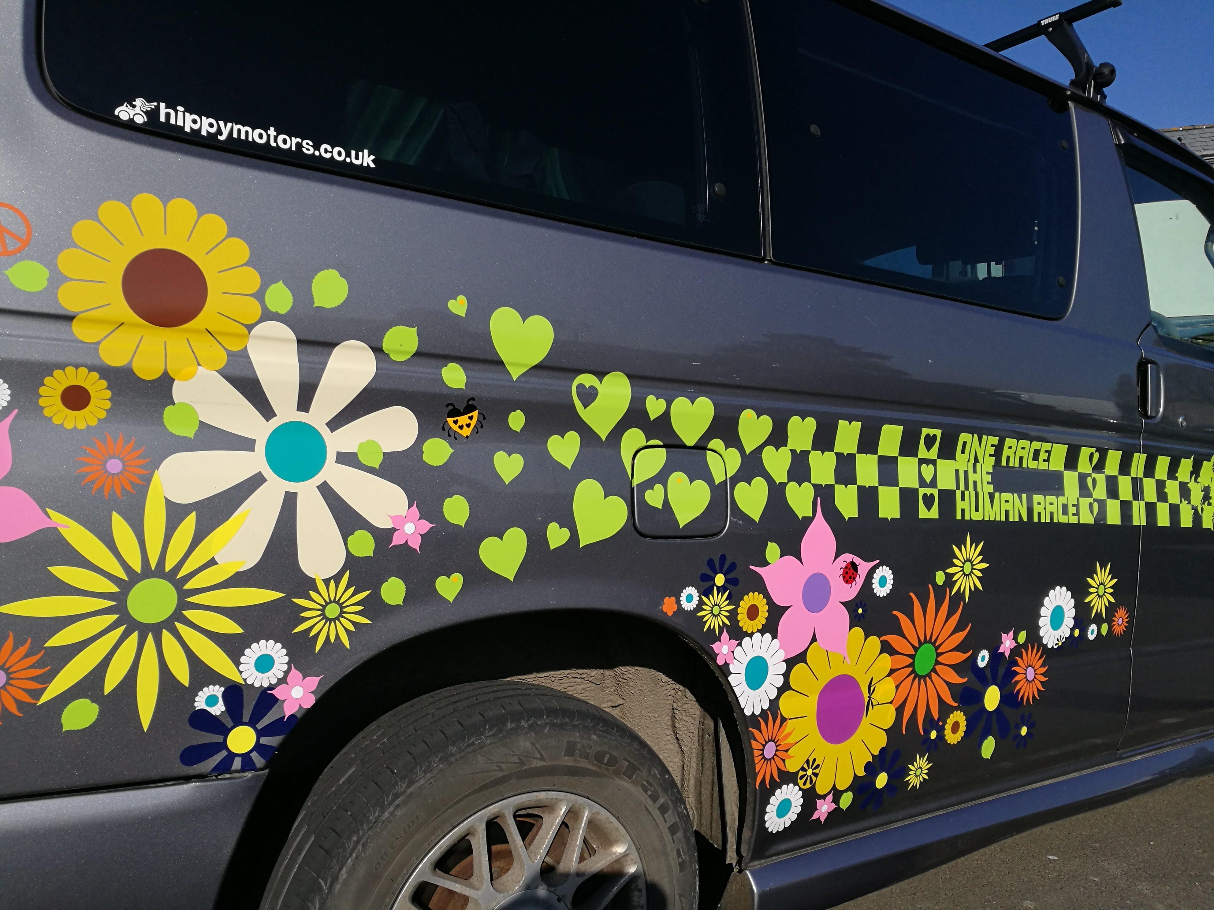 Mazda bongo flower camper van decals with racing stripes