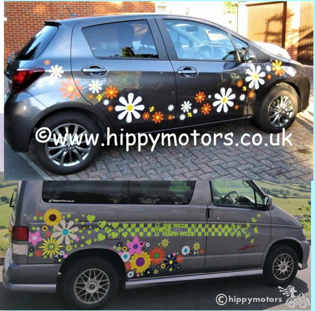large daisy vinyl decal graphics on bongo camper van and car