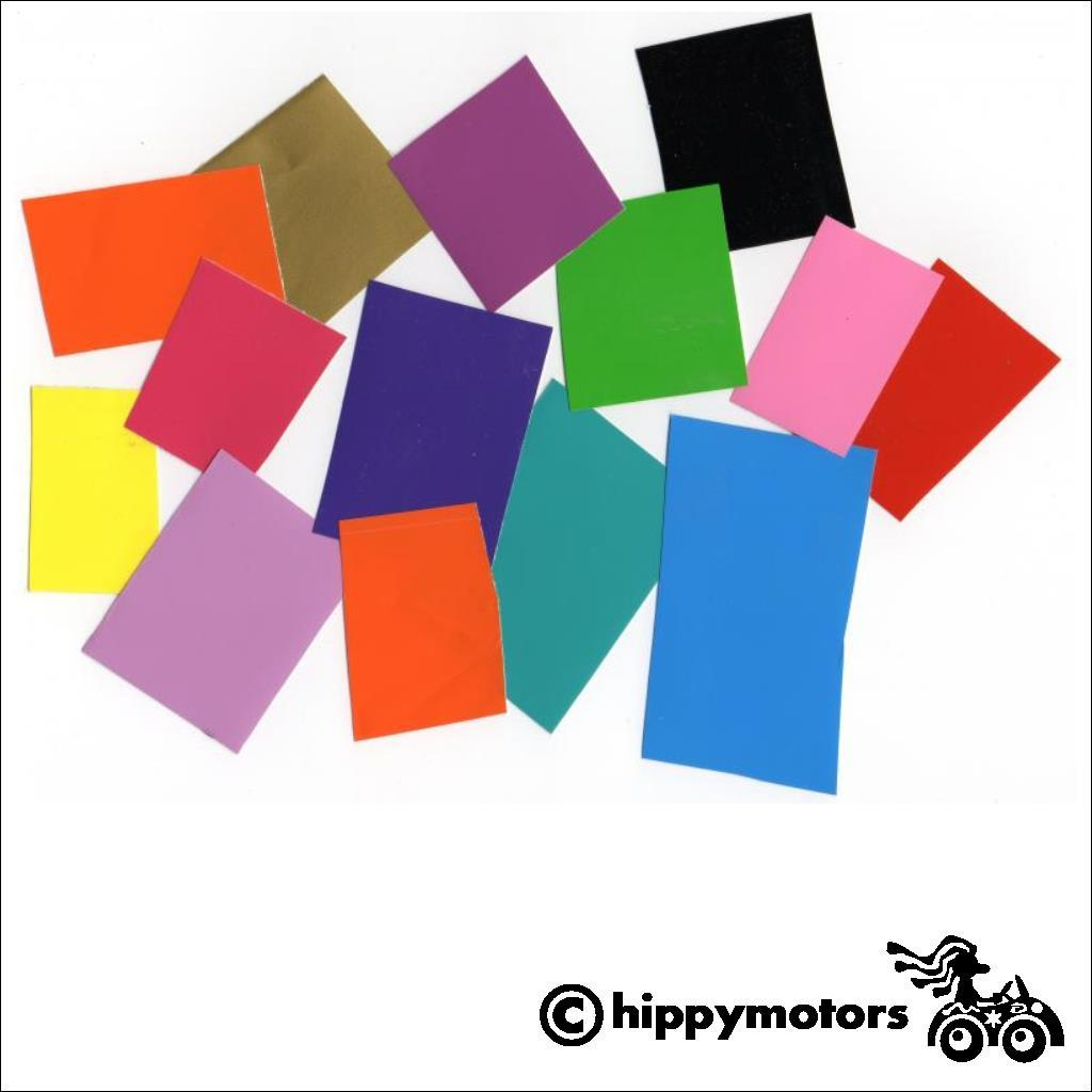 Samples of vinyl for Hippy Motors