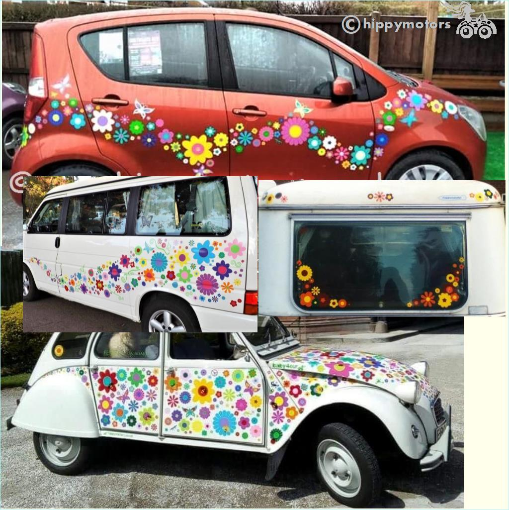 citroen 2 cv caravan camper van large vinyl flower sticker pack