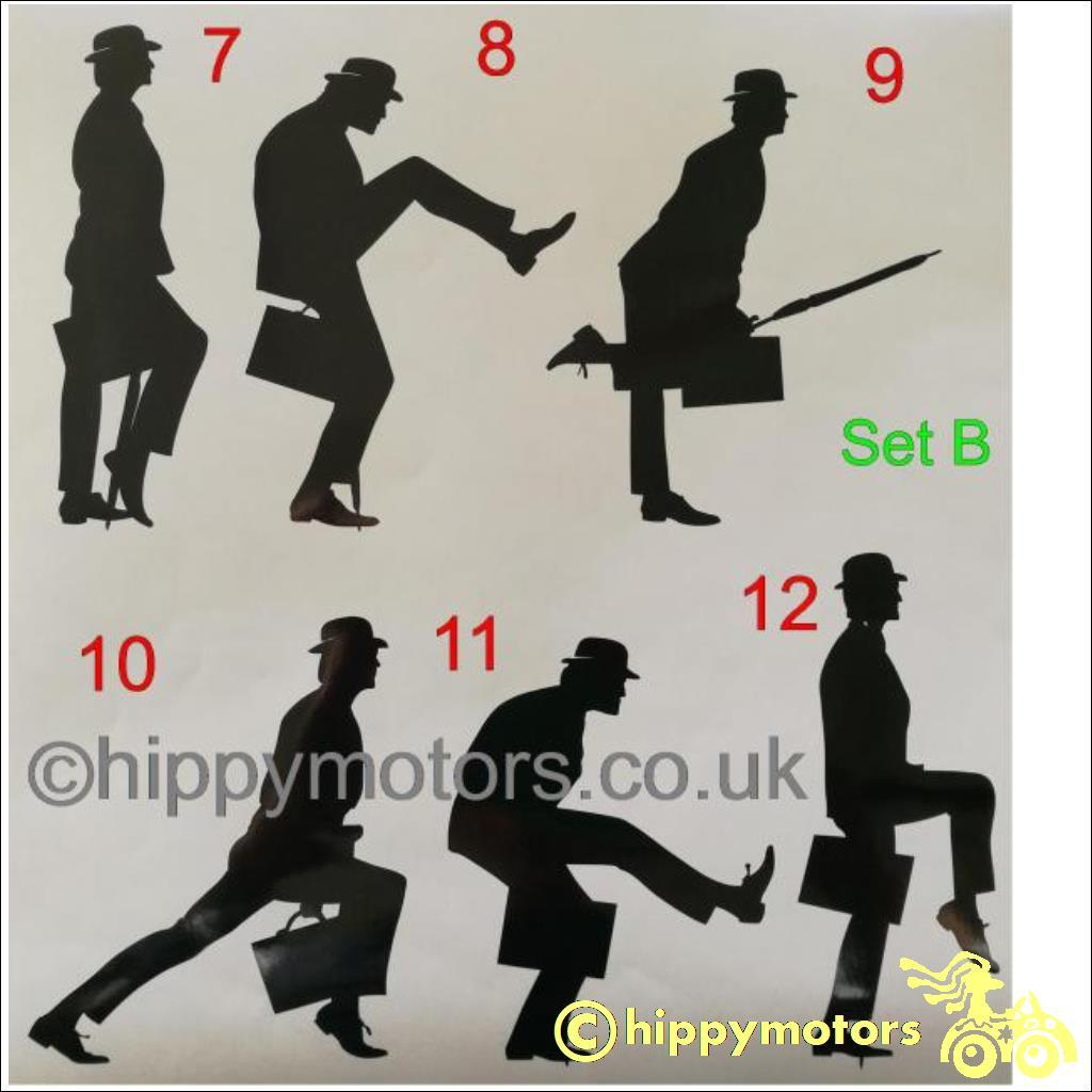 Ministry of silly walks stickers for cars