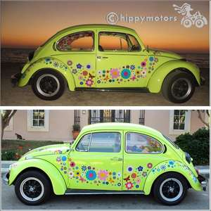 large pack of Flower decals on VW beetle
