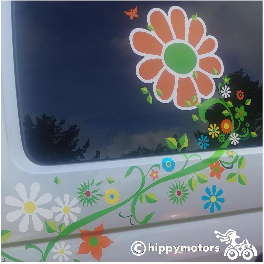 Large flower sticker on van