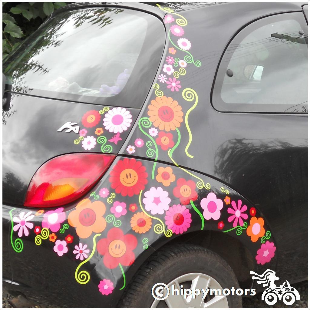 smiley face flower decals on car