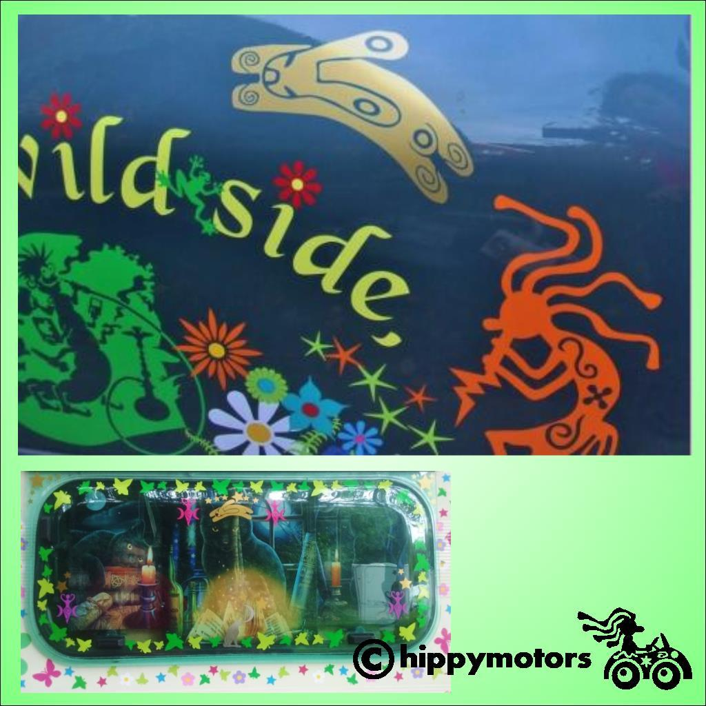 Rabbit and kokopelli decals on cars