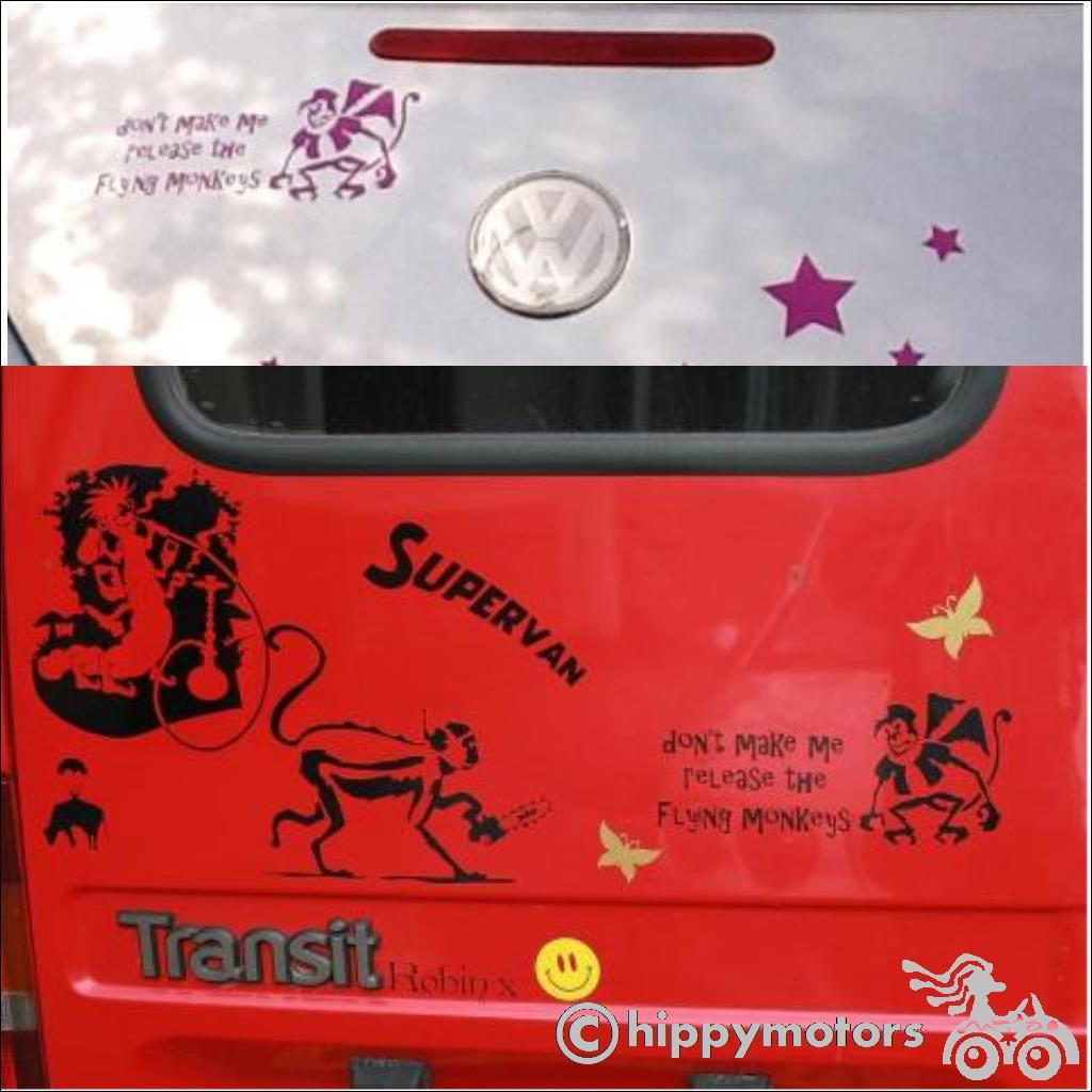Flying monkey decal on van