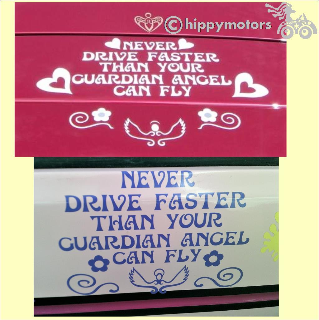 never fly faster than your guardian angel sticker