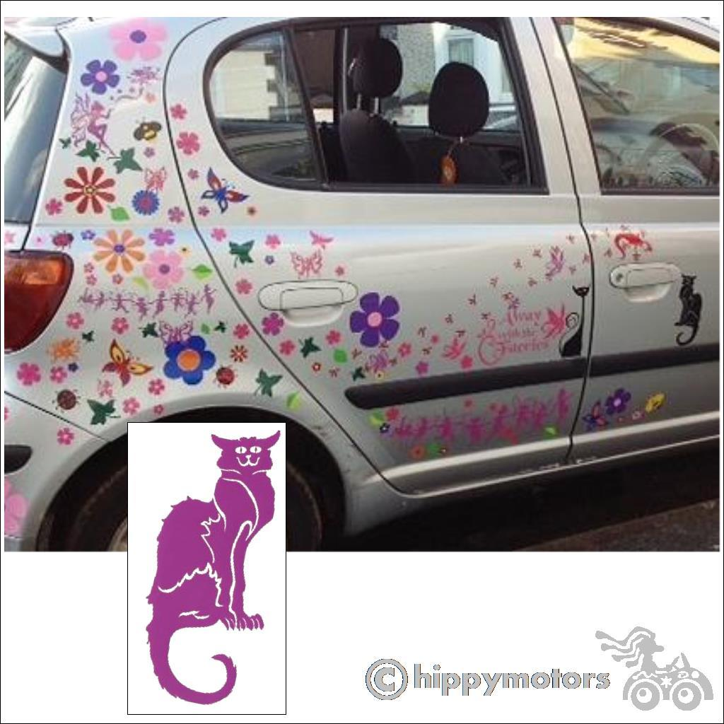 Cat and flower car stickers on a car