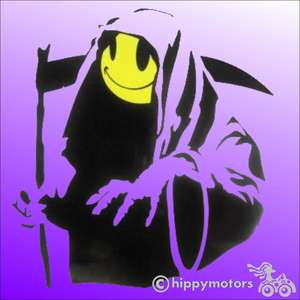 Banksy Grin or grim reaper car sticker