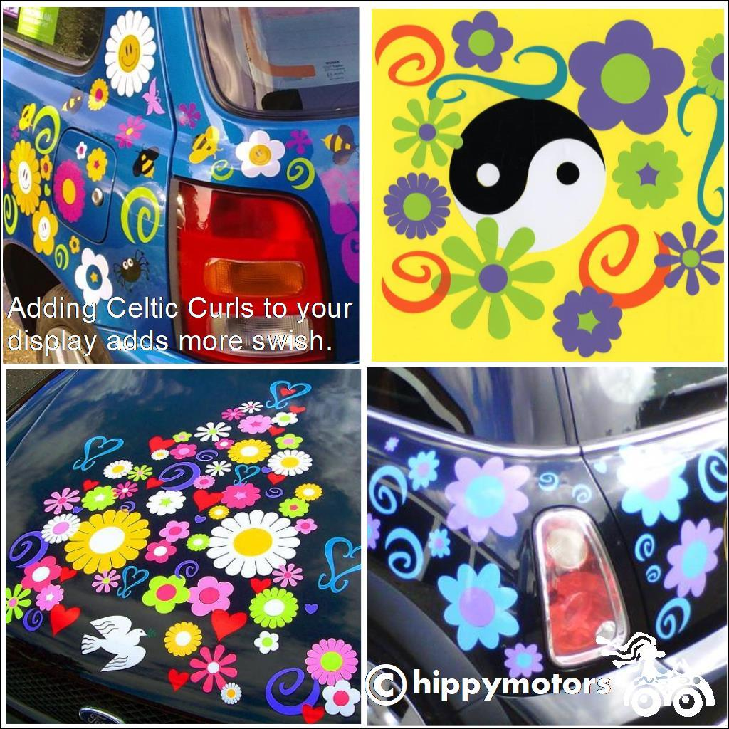 curl flower yin yang vinyl decals on cars camper vans caravans