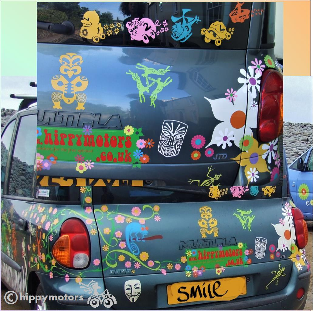 fiat multipla hare flower stickers hippy motors