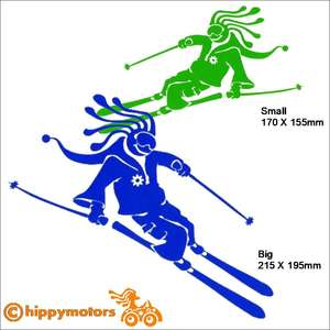 Hippy skiing decal car sticker