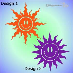 smiley sun vinyl decal stickers for windows, cars, caravans and all vehicles