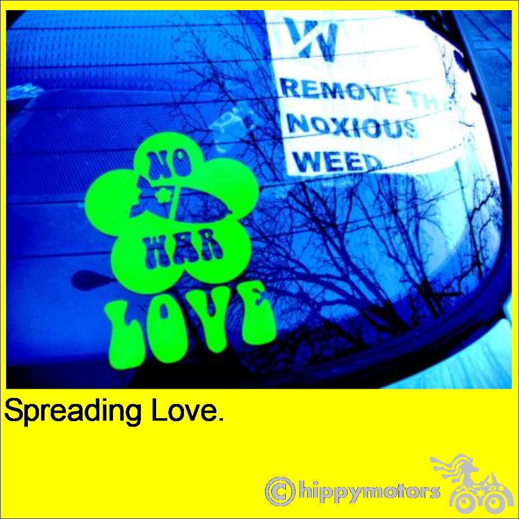 No war love decal on car