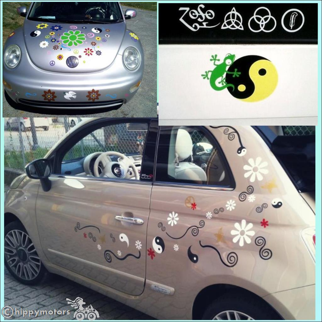 yinyang yin yang decals on cars and VW camper vans or kombis
