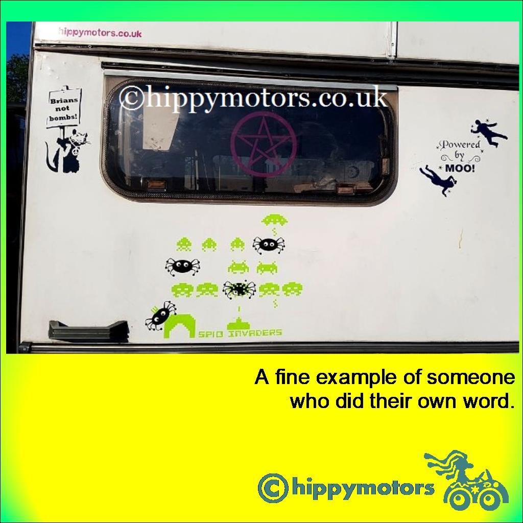 car sticker on a caravan with custom wording showing powered by