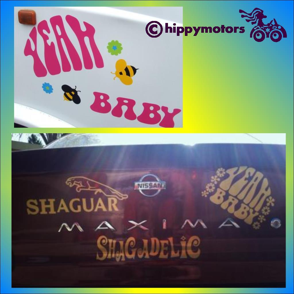 Austin Powers decals saying Shagadelic, Yeah Baby and Shaguar.