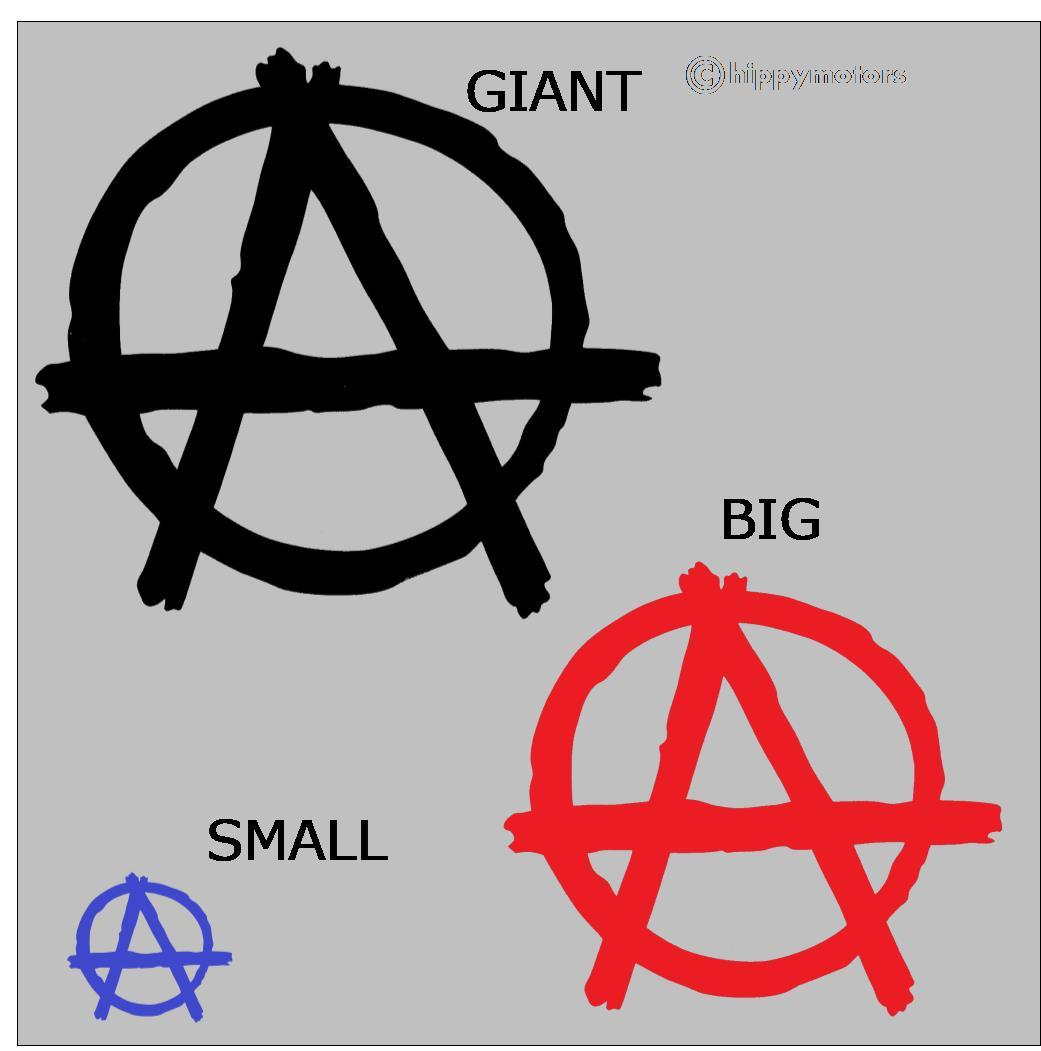 anarchist symbol vinyl sticker for cars, camper vans, caravans and laptops