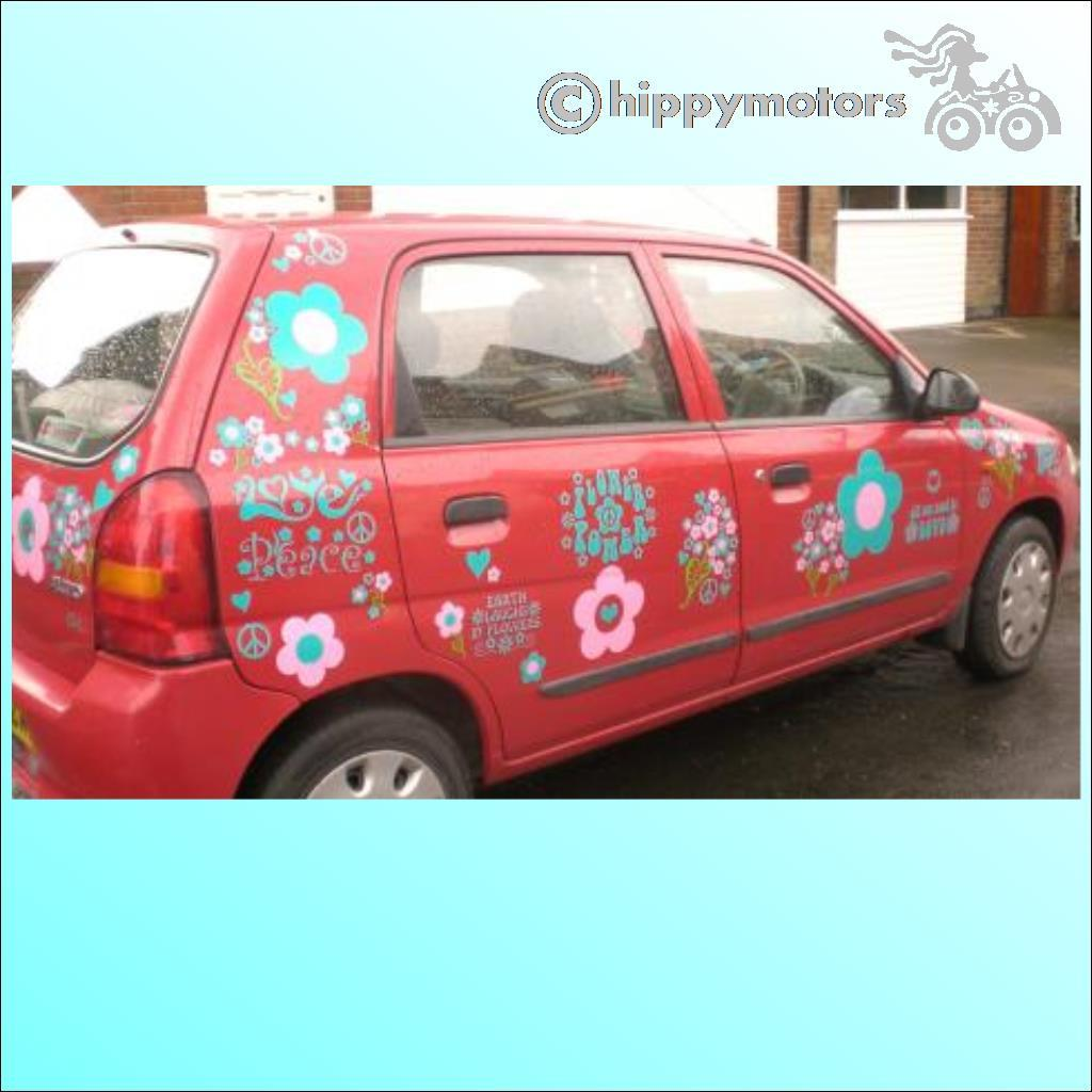 car with flower stickers and Ralph Emmerson saying