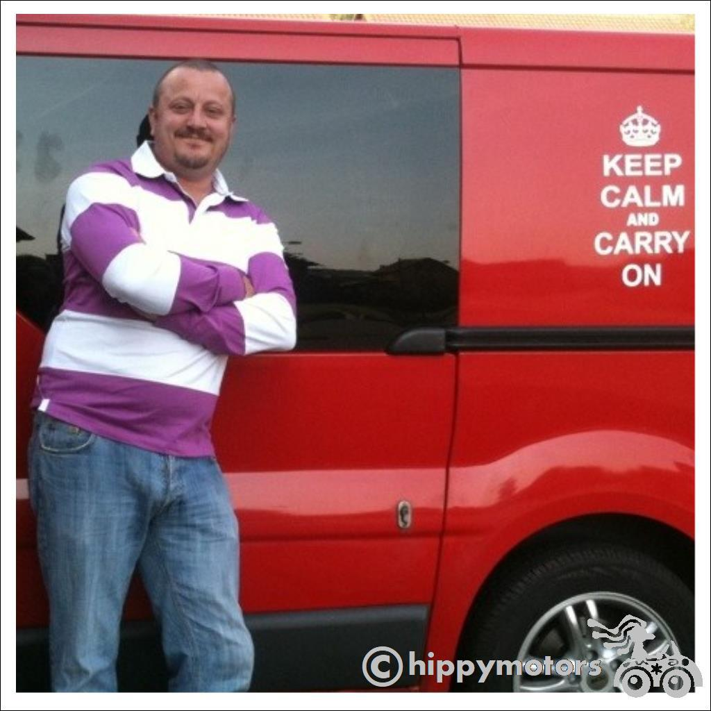 keep calm and carry on decal on a red van